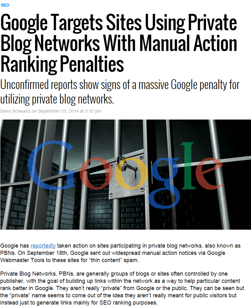 Google Targets Sites Using Private Blog Networks With manual Action Ranking Penalties